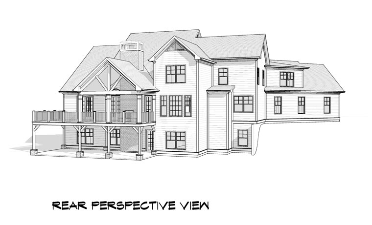 Craftsman, Traditional House Plan 58237 with 5 Beds, 5 Baths, 3 Car Garage Rear Elevation