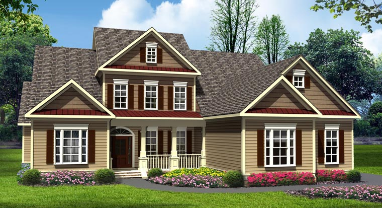 Craftsman, Traditional House Plan 58238 with 4 Beds, 4 Baths, 3 Car Garage Front Elevation