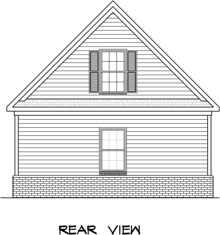 2 Car Garage Plan 58243 Rear Elevation