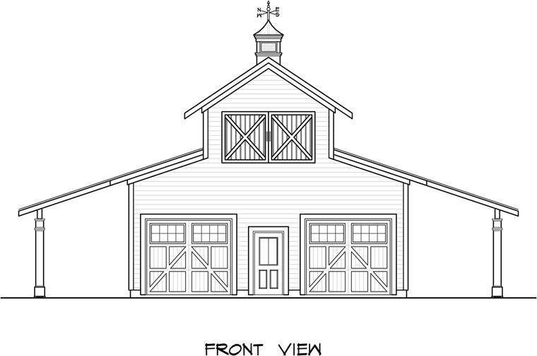 2 Car Garage Plan 58244 Elevation