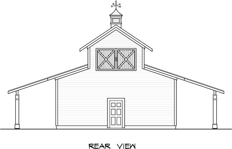 2 Car Garage Plan 58244 Rear Elevation