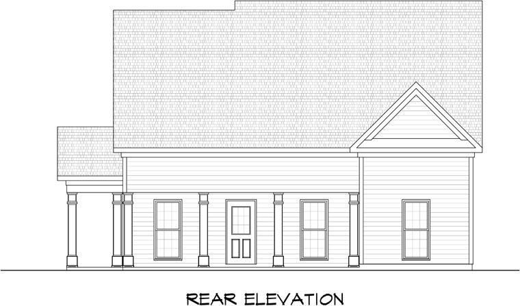 3 Car Garage Plan 58246 Rear Elevation
