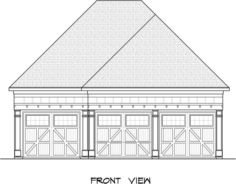 3 Car Garage Plan 58247 Elevation