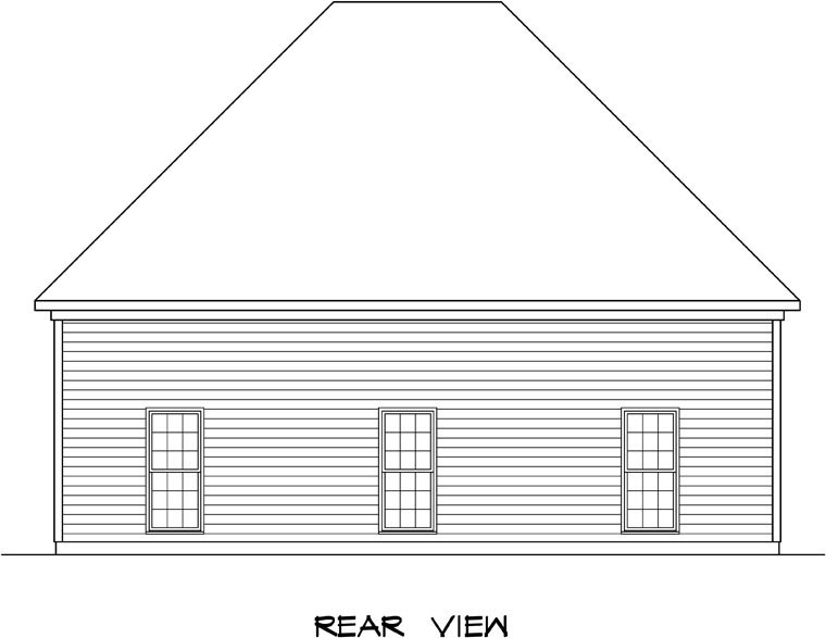 3 Car Garage Plan 58247 Rear Elevation