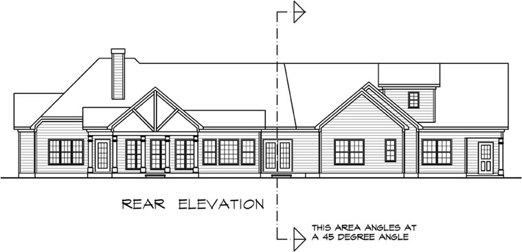 Craftsman, Traditional House Plan 58251 with 3 Beds, 3 Baths, 2 Car Garage Rear Elevation