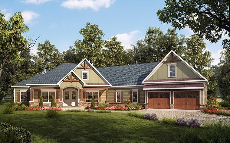 Craftsman House Plan 58254 with 4 Beds, 3 Baths, 2 Car Garage Front Elevation