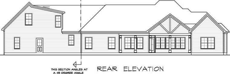 Craftsman House Plan 58255 with 4 Beds, 4 Baths, 2 Car Garage Rear Elevation