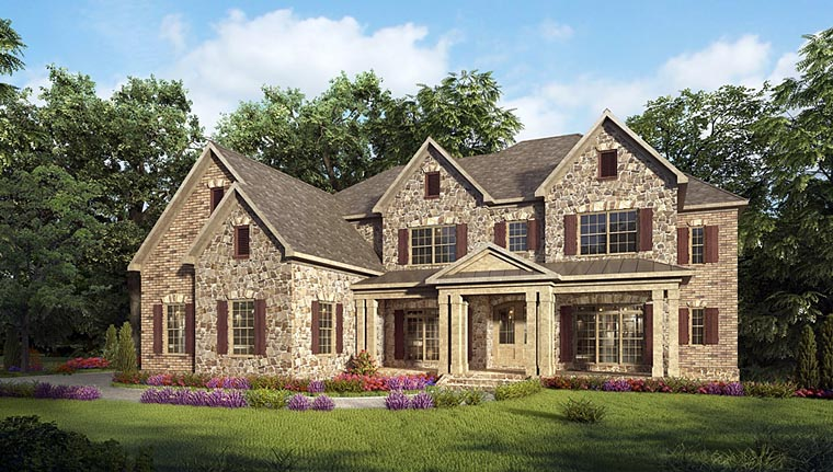 Craftsman, European, Traditional House Plan 58256 with 5 Beds, 6 Baths, 3 Car Garage Front Elevation