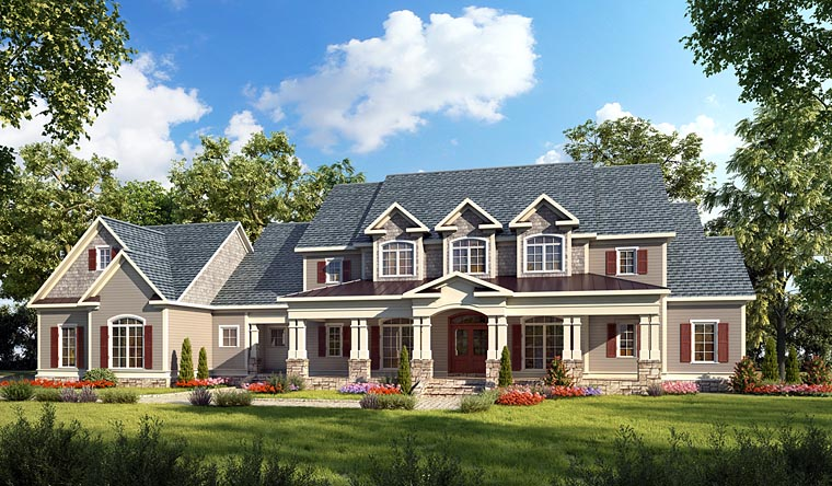 Country, Craftsman, Farmhouse, Southern, Traditional House Plan 58272 with 4 Beds, 5 Baths, 3 Car Garage Front Elevation
