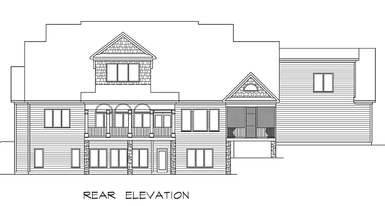 Country, Craftsman, Farmhouse, Southern, Traditional House Plan 58272 with 4 Beds, 5 Baths, 3 Car Garage Rear Elevation