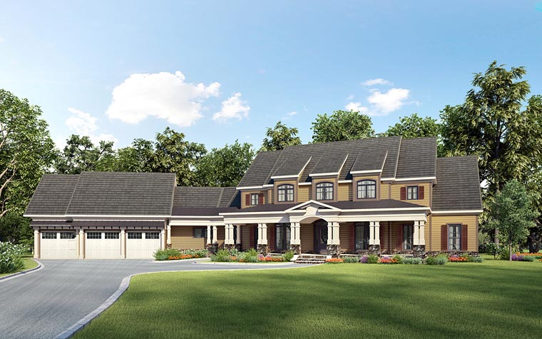 Country, Southern House Plan 58285 with 4 Beds, 5 Baths, 3 Car Garage Front Elevation