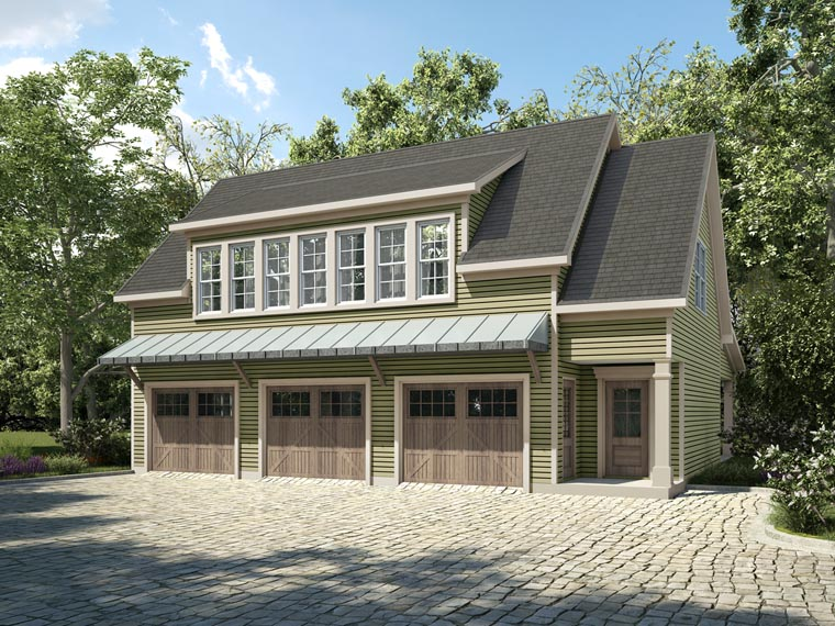 Country, Craftsman, Traditional 3 Car Garage Apartment Plan 58287 with 1 Beds, 2 Baths Front Elevation