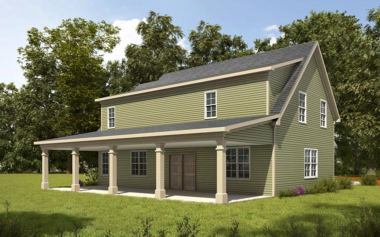Country, Craftsman, Traditional 3 Car Garage Apartment Plan 58287 with 1 Beds, 2 Baths Rear Elevation