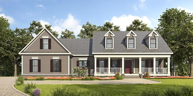 Country, Southern House Plan 58288 with 3 Beds, 3 Baths, 2 Car Garage Front Elevation
