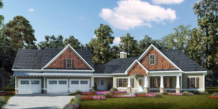 Cottage, Country, Craftsman House Plan 58296 with 4 Beds, 3 Baths, 3 Car Garage Elevation