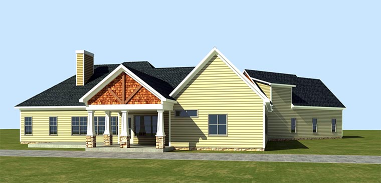 Cottage, Country, Craftsman House Plan 58296 with 4 Beds, 3 Baths, 3 Car Garage Rear Elevation