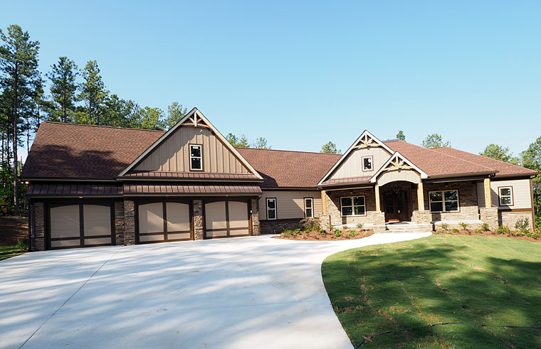 Cottage, Country, Craftsman, Traditional House Plan 58299 with 4 Beds, 4 Baths, 3 Car Garage Front Elevation
