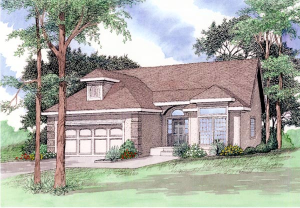 European House Plan 58410 with 4 Beds, 3 Baths, 2 Car Garage Elevation