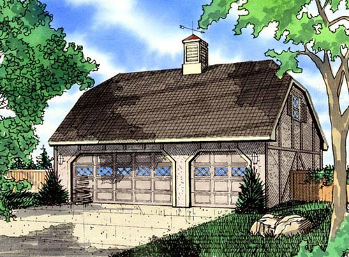 Tudor 3 Car Garage Plan 58418 Elevation