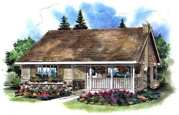 Ranch House Plan 58504 with 2 Beds, 1 Baths Elevation