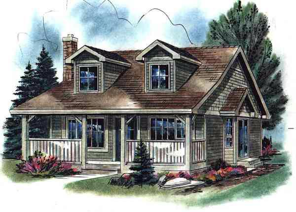 Cape Cod, Narrow Lot, One-Story House Plan 58508 with 2 Beds, 1 Baths Front Elevation