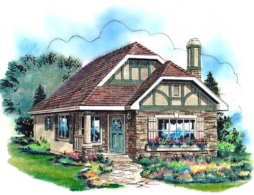 Tudor House Plan 58510 with 2 Beds, 1 Baths Elevation