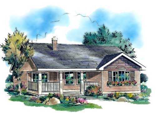 Narrow Lot, One-Story, Ranch House Plan 58511 with 3 Beds, 1 Baths Elevation