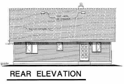 Narrow Lot, One-Story, Ranch House Plan 58511 with 3 Beds, 1 Baths Rear Elevation