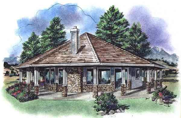Contemporary House Plan 58519 with 1 Beds, 1 Baths Elevation