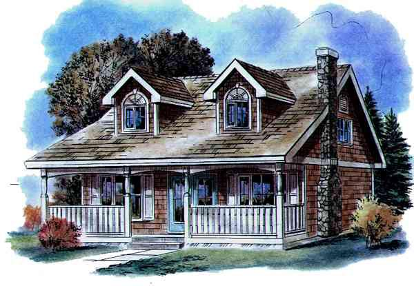 Cape Cod House Plan 58520 with 3 Beds, 2 Baths Front Elevation