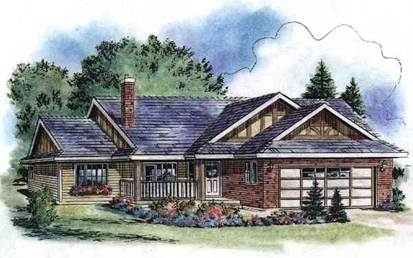 Tudor House Plan 58528 with 2 Beds, 2 Baths, 2 Car Garage Elevation