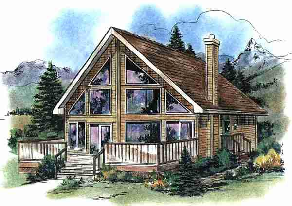 Contemporary House Plan 58540 with 2 Beds, 1 Baths Front Elevation