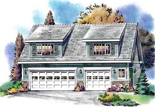 Country, Narrow Lot 3 Car Garage Apartment Plan 58557 with 2 Beds, 1 Baths Elevation