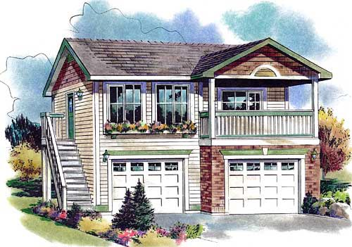 Garage-Living Plan 58562
