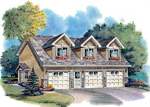 Cape Cod, Country, Traditional 3 Car Garage Apartment Plan 58568 with 2 Beds, 2 Baths Front Elevation