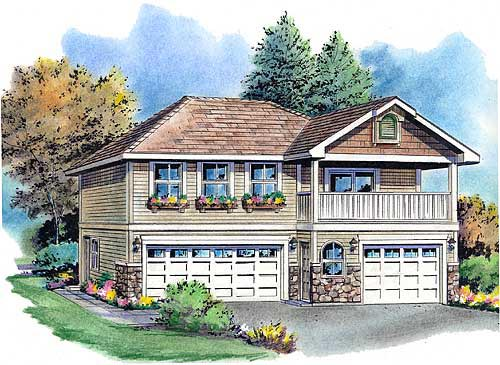 European, Ranch, Traditional 3 Car Garage Apartment Plan 58569 with 2 Beds, 2 Baths Front Elevation