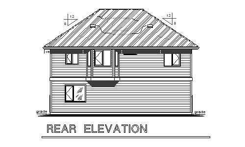 European, Ranch, Traditional 3 Car Garage Apartment Plan 58569 with 2 Beds, 2 Baths Rear Elevation