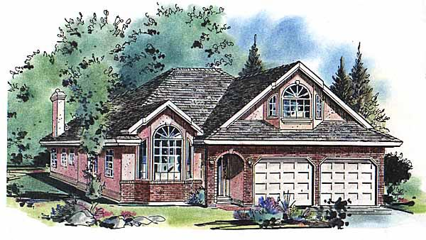 Narrow Lot, One-Story, Ranch House Plan 58612 with 4 Beds, 3 Baths, 2 Car Garage Elevation