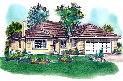 Florida, One-Story House Plan 58677 with 3 Beds, 2 Baths, 2 Car Garage Elevation