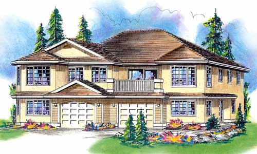European, One-Story Multi-Family Plan 58764 with 6 Beds, 4 Baths, 2 Car Garage Elevation