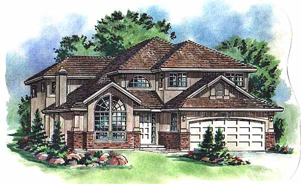 European, Narrow Lot House Plan 58768 with 5 Beds, 3 Baths, 2 Car Garage Elevation