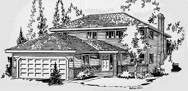 Contemporary, Narrow Lot House Plan 58870 with 3 Beds, 3 Baths, 2 Car Garage Elevation