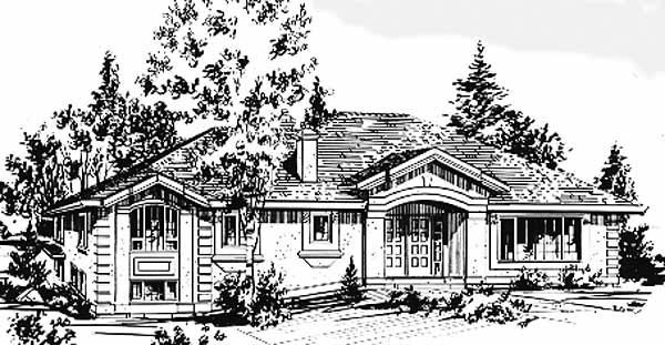 Ranch House Plan 58873 with 4 Beds, 3 Baths, 2 Car Garage Front Elevation
