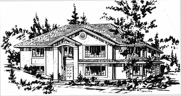 European House Plan 58874 with 3 Beds, 2 Baths, 2 Car Garage Front Elevation