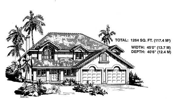Mediterranean House Plan 58876 with 3 Beds, 2 Baths, 2 Car Garage Elevation
