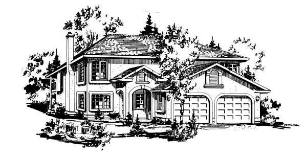 European House Plan 58877 with 3 Beds, 1 Baths, 2 Car Garage Front Elevation