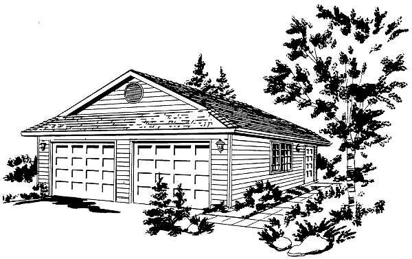 Contemporary 2 Car Garage Plan 58885 Elevation