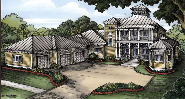 Florida House Plan 58905 with 4 Beds, 5 Baths, 3 Car Garage Front Elevation