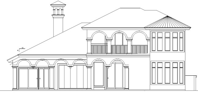Florida House Plan 58906 with 3 Beds, 5 Baths, 3 Car Garage Rear Elevation