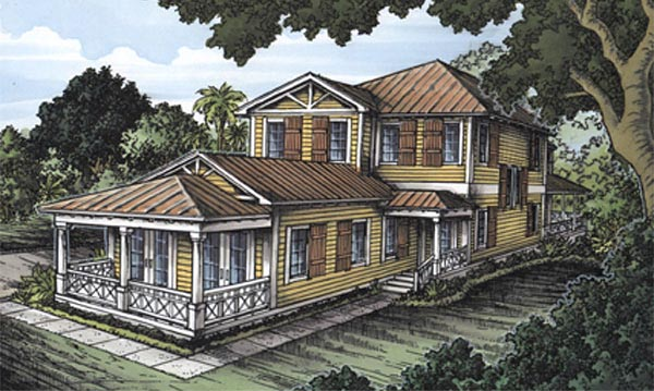 Florida House Plan 58946 with 3 Beds, 4 Baths Front Elevation